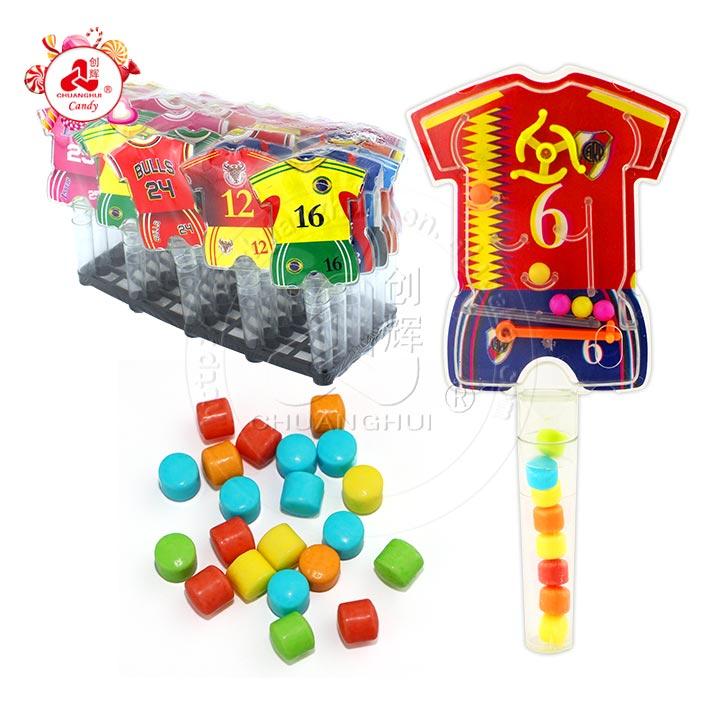 Jouet d'éjection de flipper de machine de jeu de vêtements de football jouets en plastique de tube de bonbons