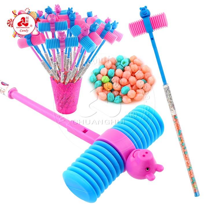 45cm LED éclairage double tête marteau bâton bonbons jouet / son marteau jouet avec des bonbons mous