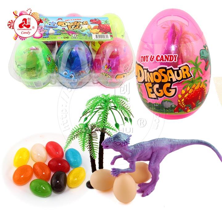 Fourniture d'usine dinosaures résineux géants avec des bonbons à la gelée dans des œufs de dinosaures