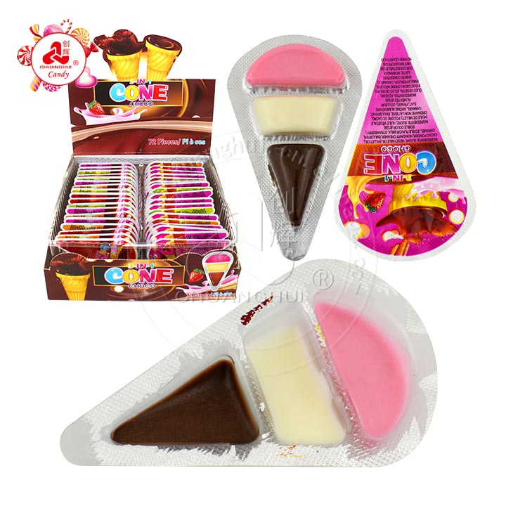 Strawberry, black and white chocolate 3 in 1 cone choco candy