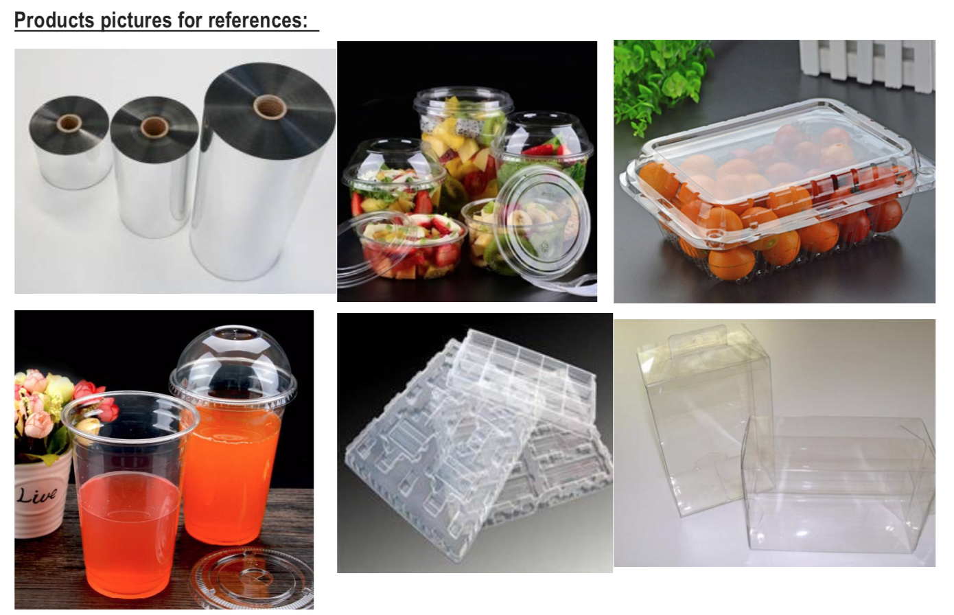 plastic thermoforming sheet of Food packaging