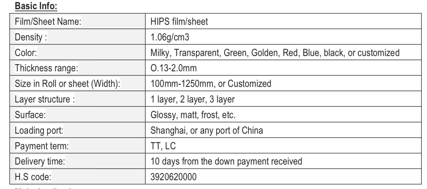HIPS thermoforming sheet