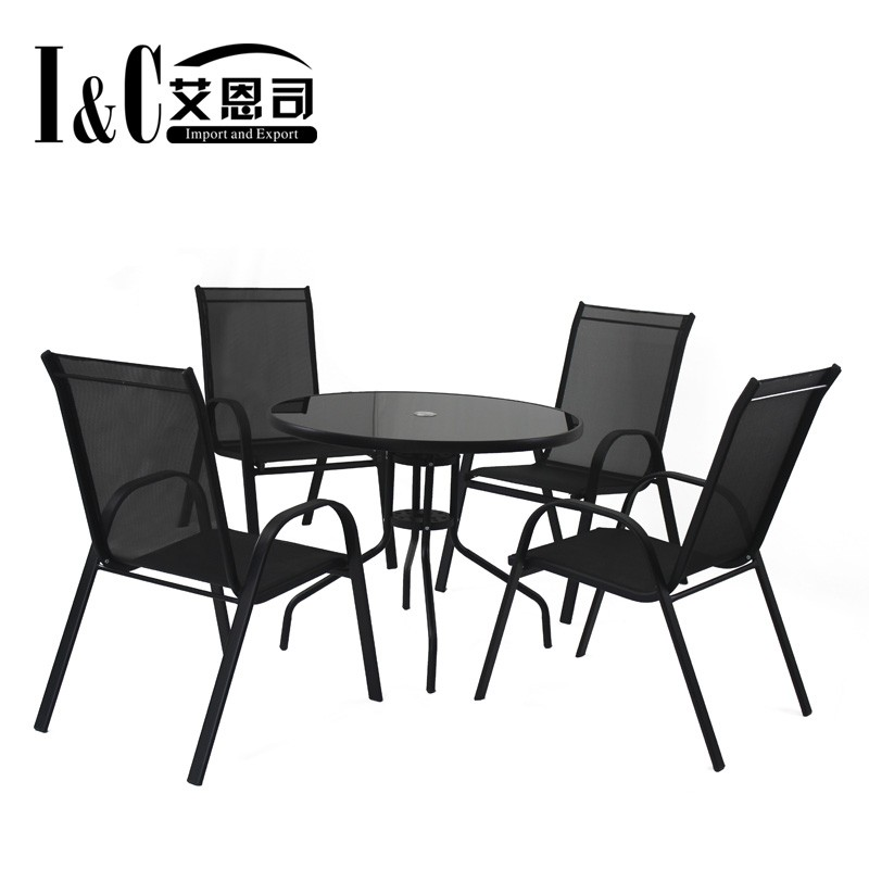 Outdoor Dining Set 5 Pieces Stacking Garden Patio Furniture