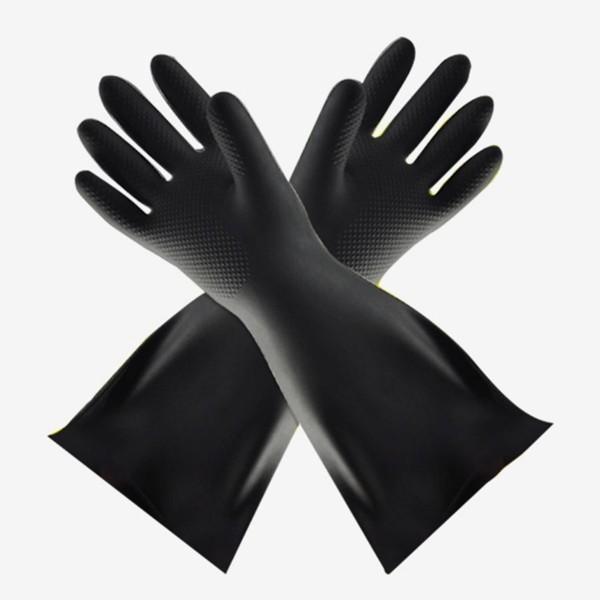 Industrial acid and alkali resistant black rubber gloves
