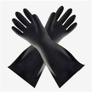 Industrial acid and alkali resistant black rubber gloves