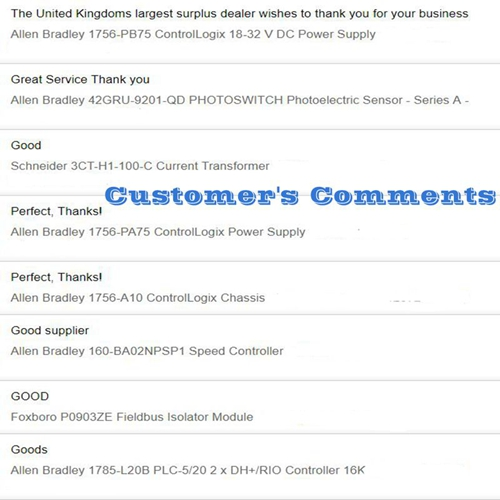 Customer's Comments
