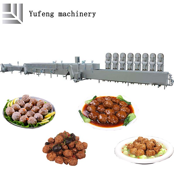 Industrial Fully Automatic Meatballs Molding-cooking-cooling Line