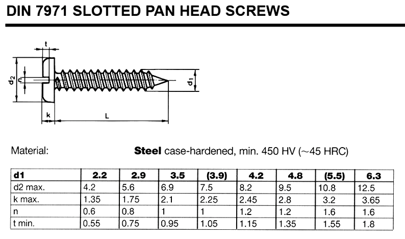 DIN7971 self-tapping screws stainless steel