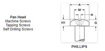 Phillips pan head metal screws stainless steel