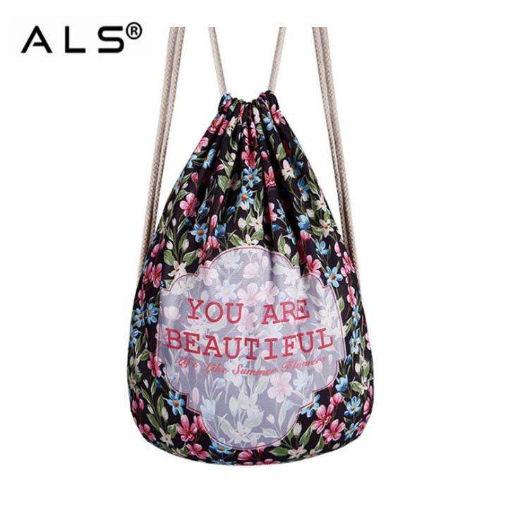 Colorful Cotton Drawstring Bag