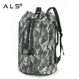 Casual Men Canvas Backpack Large Capacity Barrel Backpack String Drawstring Daypack Backpacks