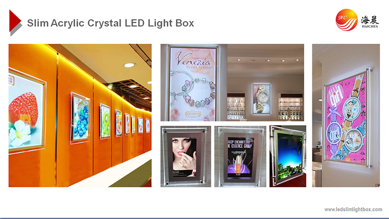 crystal slim menu led light box