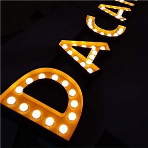 Ang Dekorasyon ay Naglalantad ng mga Led Bulb Letters Sign For Shop