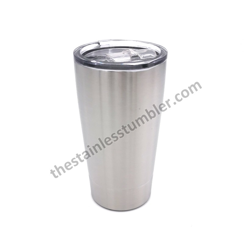 16oz Stainess Steel Double Wall Insulated Tapered Milk Tumbler With Sliding Lid Straw