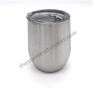 12oz Stainless Steel Double Wall Stemless Wine Drinking Cup Tumbler With Sliding Lid