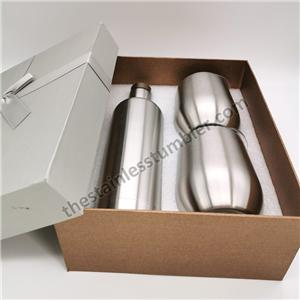 Stainless Steel Double Wall Insulted Red Wine Bottle Gift Set With Two Wine Cups