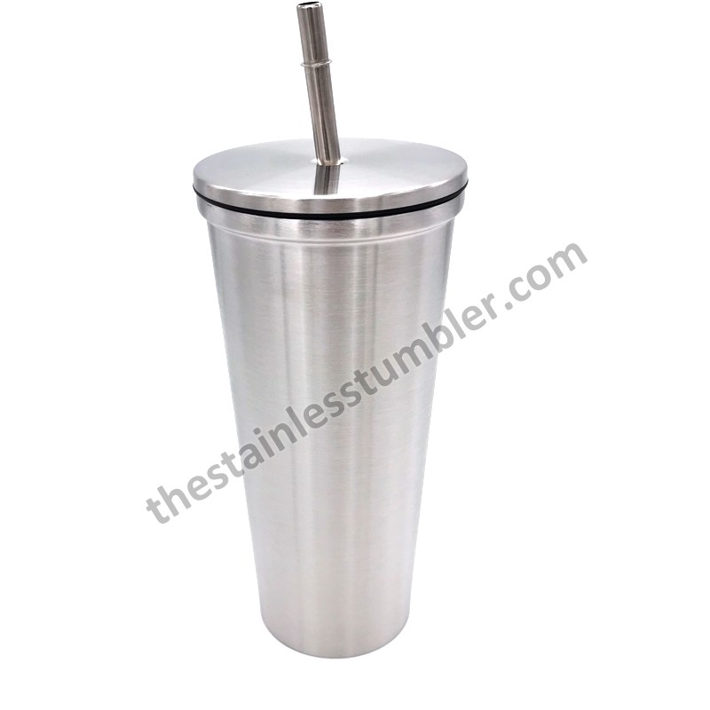 24oz Stainless Steel Straight Tapered Tumbler With Screw Lid And Straw