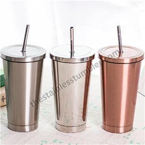 17oz Stainless Steel Cup With Stainless Steel Straw