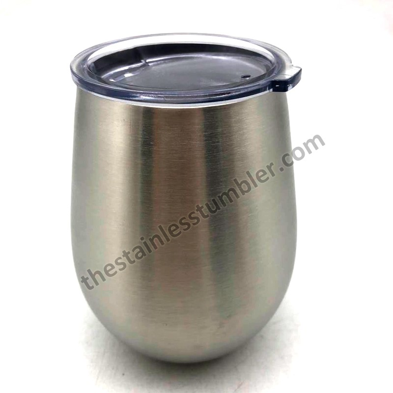 14oz Stainless Steel Egg Shaped Stemless Wine Cup Wine Glass With Lid