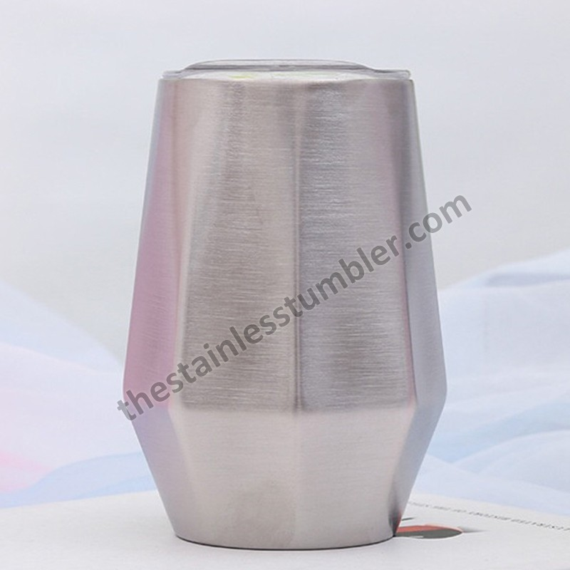 12oz Stainless Steel Vacuum Insulated Diamond Shape Wine Cup Wine Glass