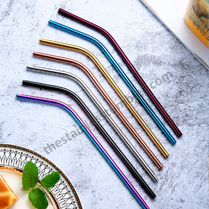 Bend Or Straight Coloreful Or Silver Stainless Steel Straws Straw Set