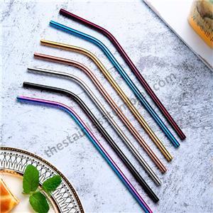 Bøj eller lige farvelagt eller sølv rustfrit stål halm halm sæt