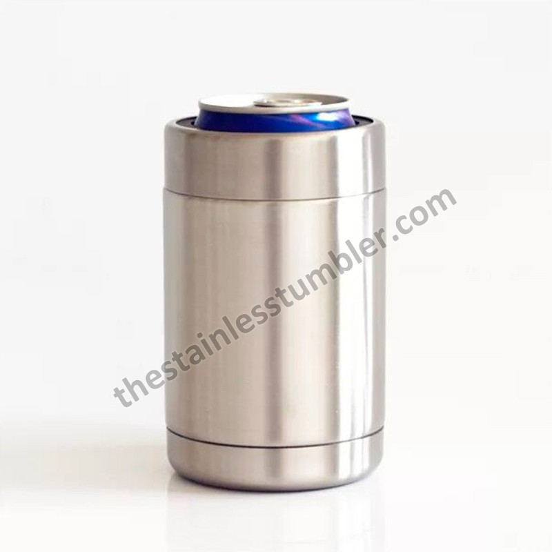 12oz Double Wall Insulated Can Cooler Koozie With Stainless Steel Top Ring