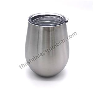 10oz Stainless Steel Insulated Egg Shaped Wine Cup With Lid