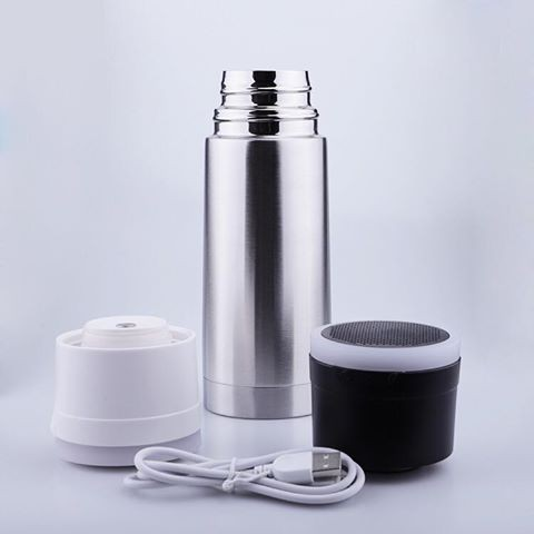 Listen a song while drinking with a stainless steel tumblers ?