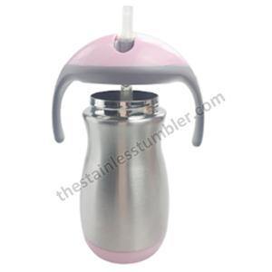 9oz rostfritt stål dubbla väggar vakuumisolerade Baby Sippy flaska med silikon Medium flödesnippel