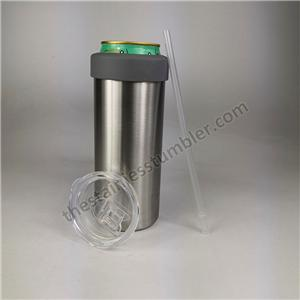 23 Oz Skinny Can Cooler Tumbler - Stainless Steel Tumbler with Straw and silicone bumper