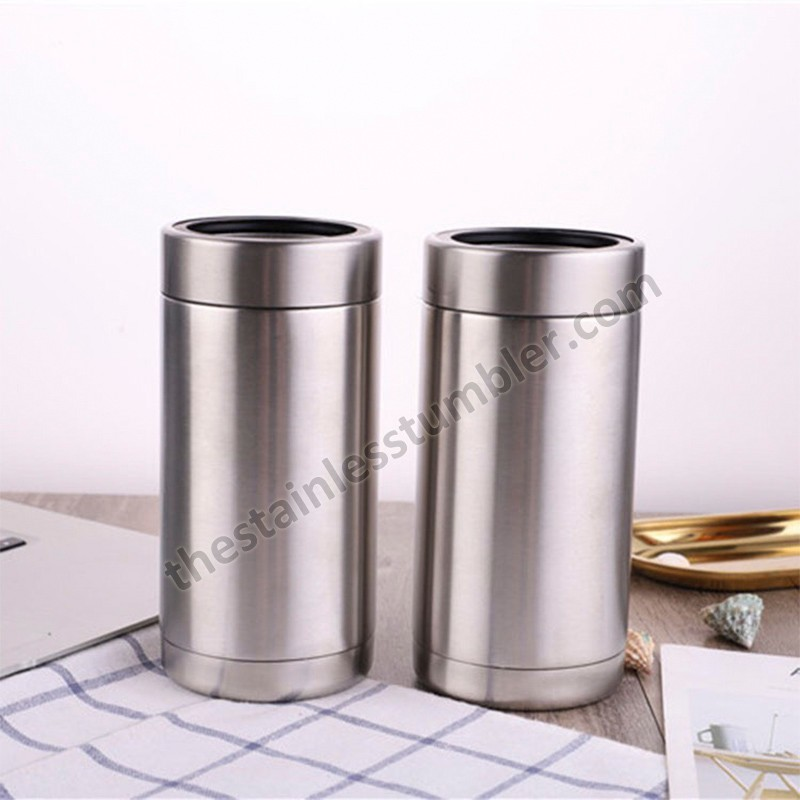 Supply 16oz Vacuum Insulated Wholesale Stainless Steel Can Cooler With Black Rubber Ring And Ss Ring Factory Quotes Oem