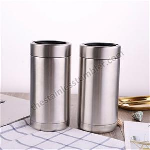 16oz Vacuum Insulated Wholesale Stainless Steel Can Cooler with black rubber ring and SS ring