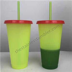 24oz colour changing plastic cup froasted and assorted multicolor mugs with lid and straw