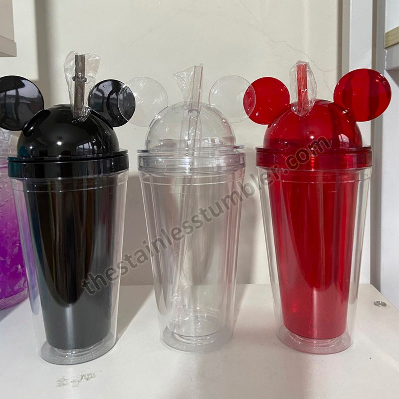 food grade double wall 17oz mickey mouse freezer gel plastic acrylic straw cup