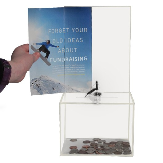 Clear Acrylic Ballot Box With Lock And Sign Holder