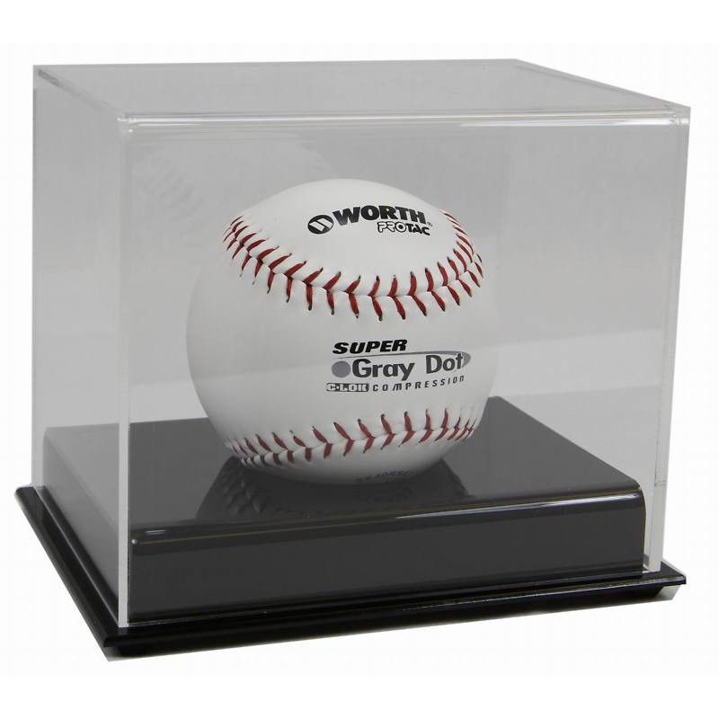 Clear Acrylic Baseball Display Case With Wooden Base