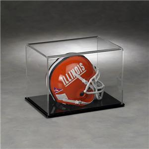 Clear Acrylic Full Size Football Helmet Display Case With Solid Black Base