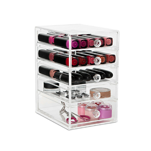Acrylic Desk Makeup Organizer With Handle