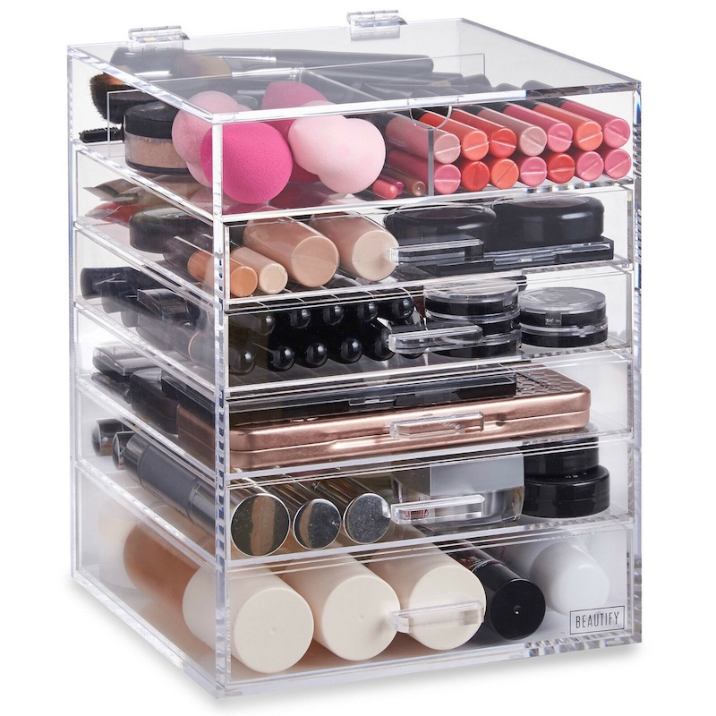 Clear Acrylic Cosmetic Oganizer Drawer With Lid