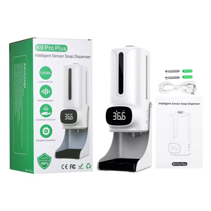 Termómetro K9 Pro Plus con transmisión de voz incorporada Desinfectante en 15 idiomas Dispensador de jabón de manos