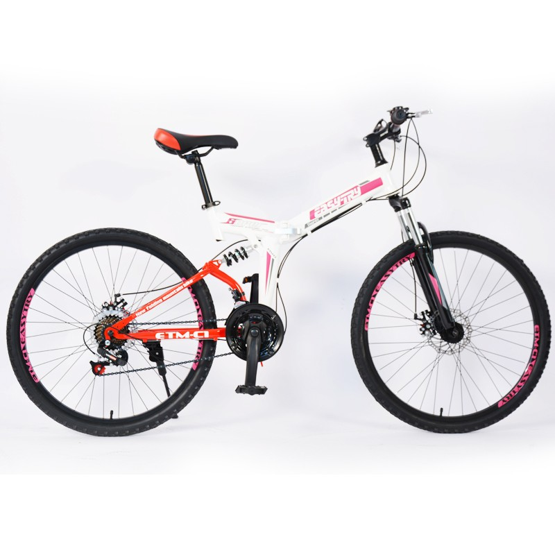 Bicicleta de montaña de doble suspensión con marco de acero de alto carbono
