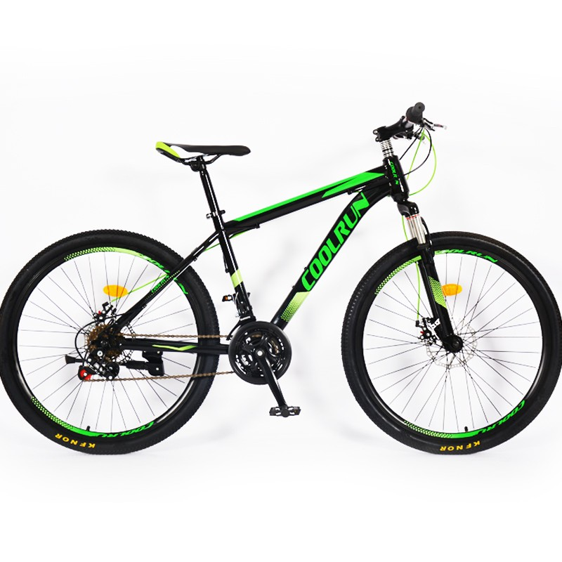 Frenos de disco de 26 pulgadas Cuadro de acero Hi-ten 18 Velocidad Verde Bicicletas