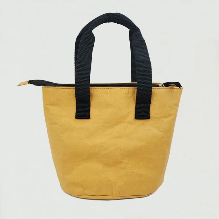 حقيبة غداء معزولة من ورق كرافت قابل للغسل
