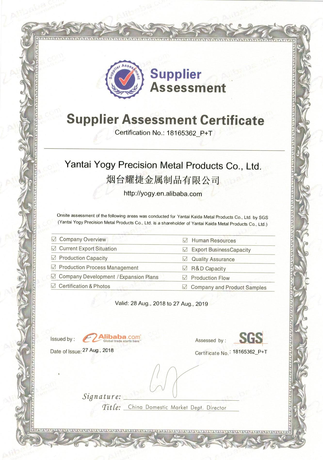 SGS assessment certificate