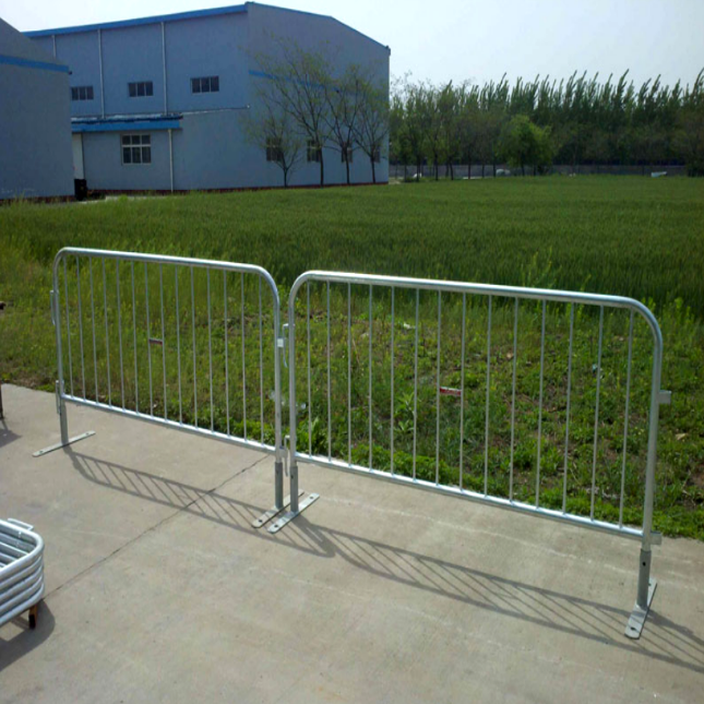 8 Foot Crowd Stopper Steel Barricade With Flat Base
