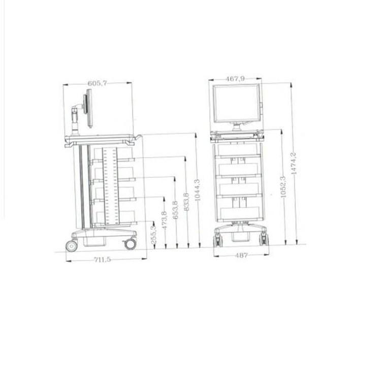 إنتاج عربة مستشفى الفولاذ المقاوم للصدأ ، عربات مستشفى مخصصة الفولاذ المقاوم للصدأ ، الترقيات عربة التنظير
