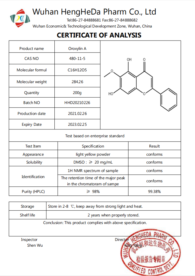 Kaufen Massenversorgung 99% Oroxylin A CAS 480-11-5;Massenversorgung 99% Oroxylin A CAS 480-11-5 Preis;Massenversorgung 99% Oroxylin A CAS 480-11-5 Marken;Massenversorgung 99% Oroxylin A CAS 480-11-5 Hersteller;Massenversorgung 99% Oroxylin A CAS 480-11-5 Zitat;Massenversorgung 99% Oroxylin A CAS 480-11-5 Unternehmen