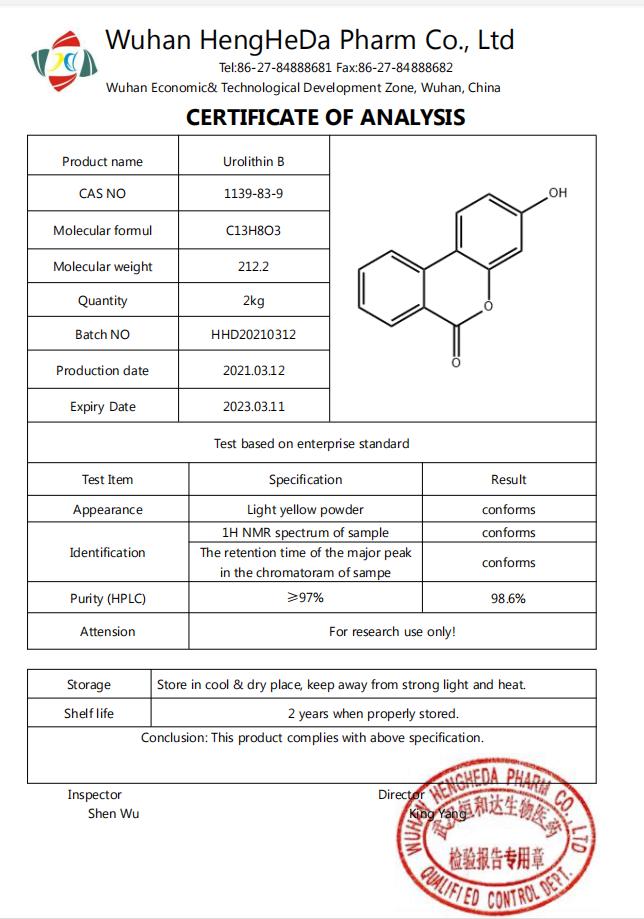 Acquista Urolitina B CAS 1139-83-9,Urolitina B CAS 1139-83-9 prezzi,Urolitina B CAS 1139-83-9 marche,Urolitina B CAS 1139-83-9 Produttori,Urolitina B CAS 1139-83-9 Citazioni,Urolitina B CAS 1139-83-9  l'azienda,