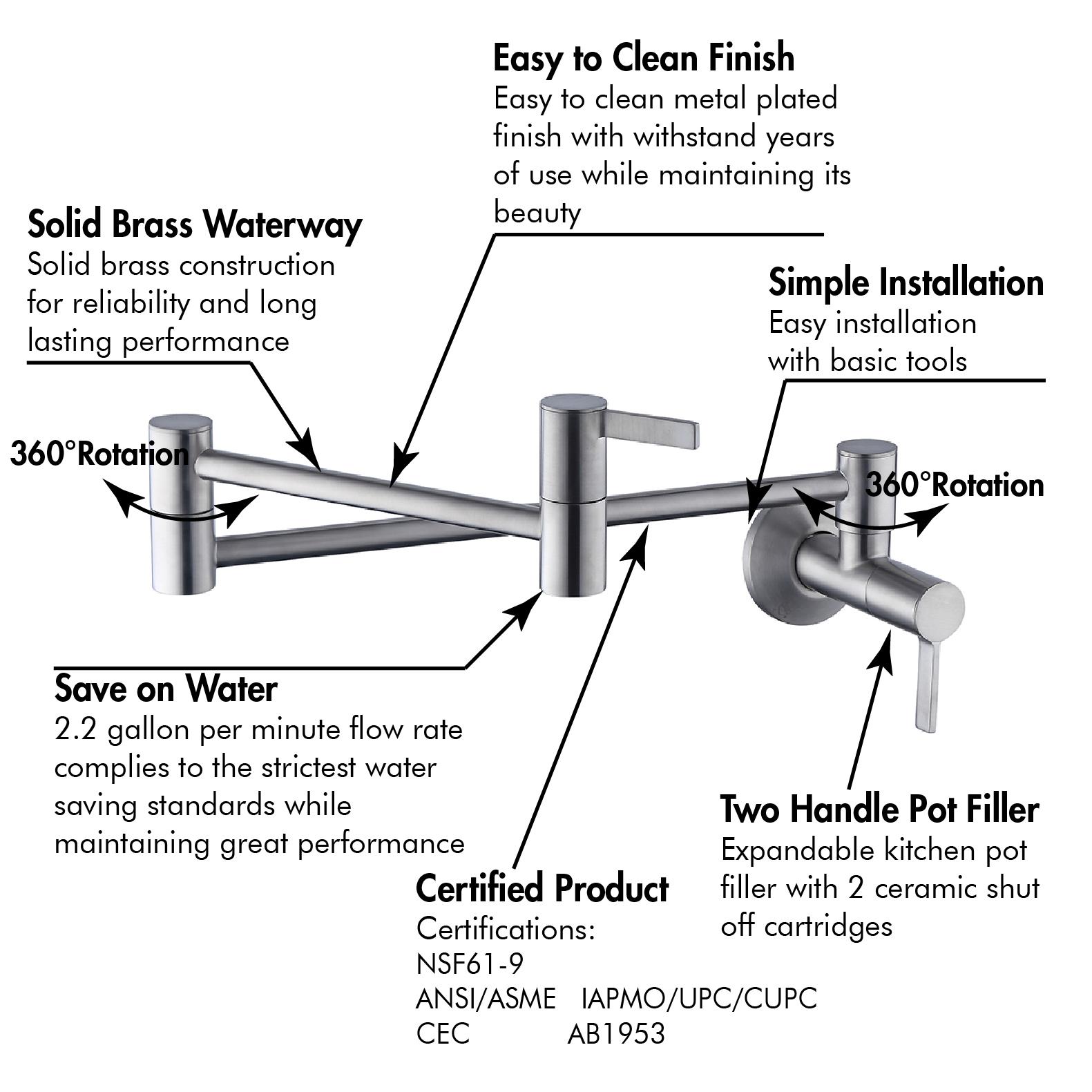 black pot filler kitchen faucet